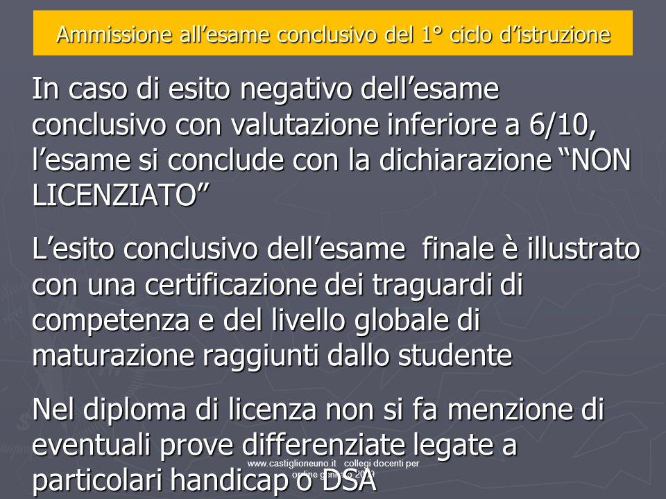 www.castiglioneuno.it collegi docenti per ordine gennaio 2009 In caso di esito negativo dellesame conclusivo con valutazione inferiore a 6/10, lesame