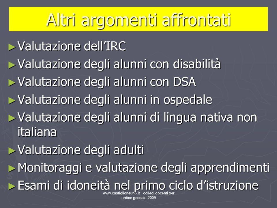 www.castiglioneuno.it collegi docenti per ordine gennaio 2009 Altri argomenti affrontati Valutazione dellIRC Valutazione dellIRC Valutazione degli alu