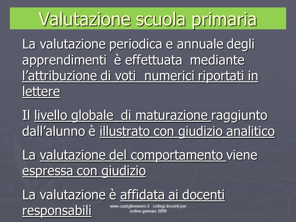 www.castiglioneuno.it collegi docenti per ordine gennaio 2009 Valutazione scuola primaria La valutazione periodica e annuale degli apprendimenti è eff