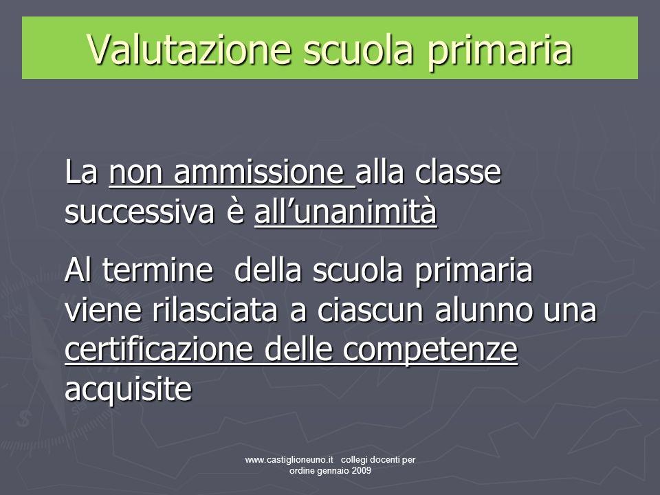 www.castiglioneuno.it collegi docenti per ordine gennaio 2009 La non ammissione alla classe successiva è allunanimità Al termine della scuola primaria