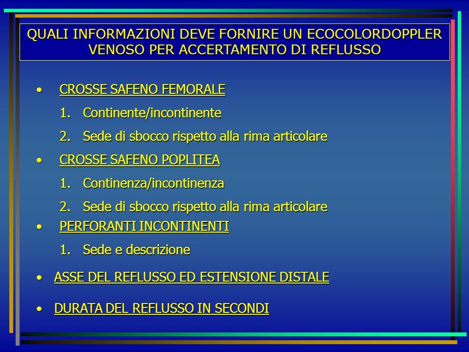QUALI INFORMAZIONI DEVE FORNIRE UN ECOCOLORDOPPLER VENOSO PER ACCERTAMENTO DI REFLUSSO CROSSE SAFENO FEMORALECROSSE SAFENO FEMORALE 1.Continente/incon