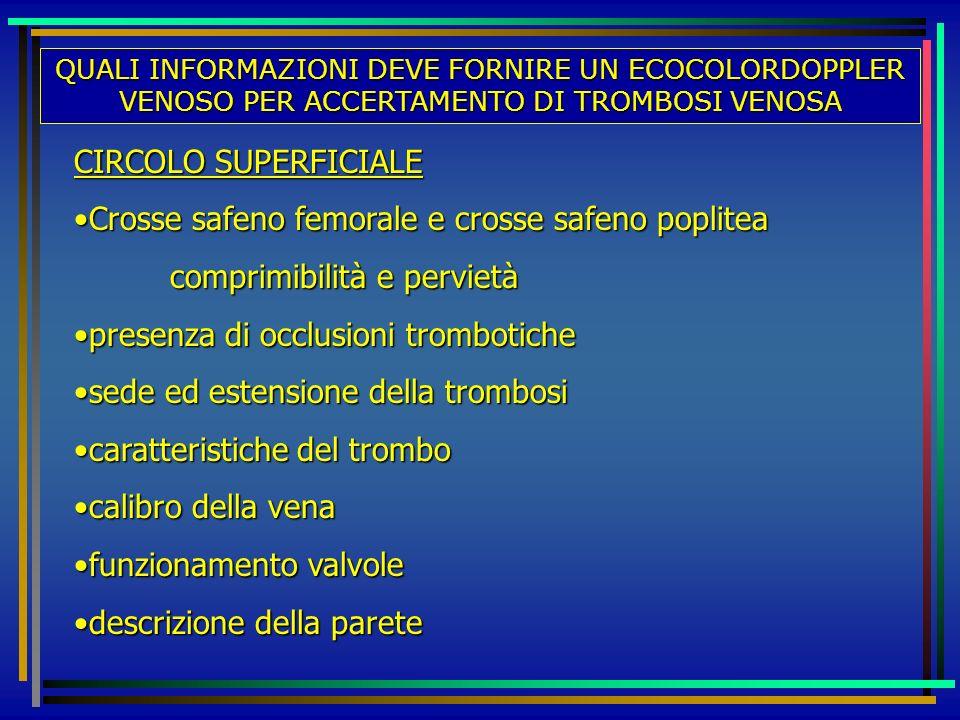 QUALI INFORMAZIONI DEVE FORNIRE UN ECOCOLORDOPPLER VENOSO PER ACCERTAMENTO DI TROMBOSI VENOSA CIRCOLO SUPERFICIALE Crosse safeno femorale e crosse saf