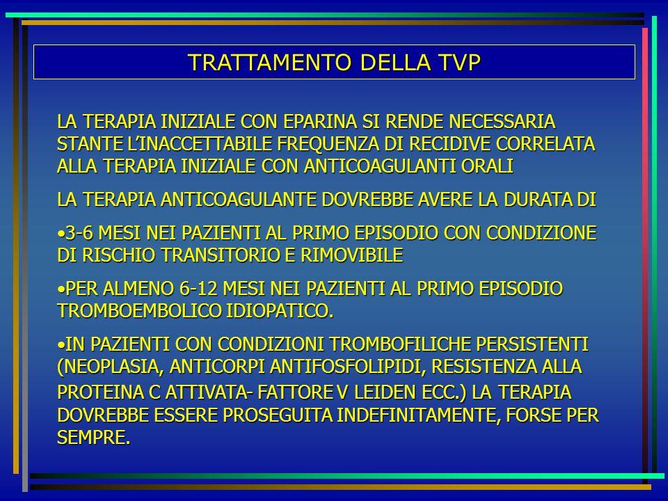 TRATTAMENTO DELLA TVP LA TERAPIA INIZIALE CON EPARINA SI RENDE NECESSARIA STANTE LINACCETTABILE FREQUENZA DI RECIDIVE CORRELATA ALLA TERAPIA INIZIALE