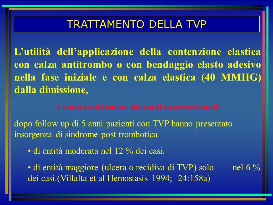TRATTAMENTO DELLA TVP Lutilità dellapplicazione della contenzione elastica con calza antitrombo o con bendaggio elasto adesivo nella fase iniziale e c