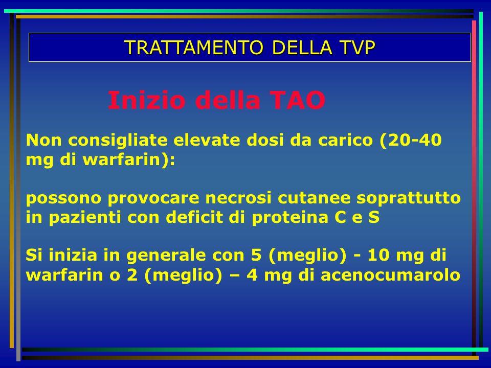 TRATTAMENTO DELLA TVP Non consigliate elevate dosi da carico (20-40 mg di warfarin): possono provocare necrosi cutanee soprattutto in pazienti con def