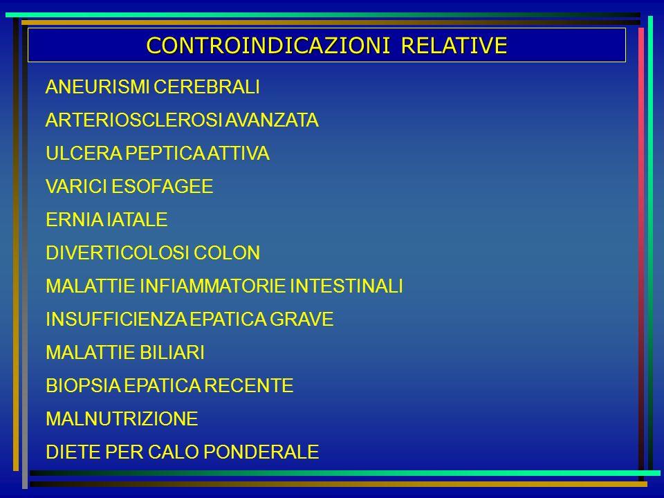 CONTROINDICAZIONI RELATIVE ANEURISMI CEREBRALI ARTERIOSCLEROSI AVANZATA ULCERA PEPTICA ATTIVA VARICI ESOFAGEE ERNIA IATALE DIVERTICOLOSI COLON MALATTI
