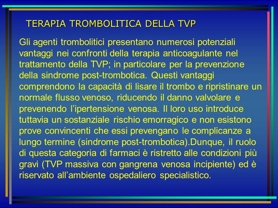 TERAPIA TROMBOLITICA DELLA TVP Gli agenti trombolitici presentano numerosi potenziali vantaggi nei confronti della terapia anticoagulante nel trattame