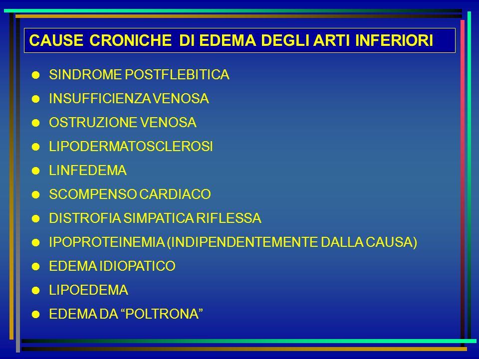 CAUSE CRONICHE DI EDEMA DEGLI ARTI INFERIORI SINDROME POSTFLEBITICA INSUFFICIENZA VENOSA OSTRUZIONE VENOSA LIPODERMATOSCLEROSI LINFEDEMA SCOMPENSO CAR