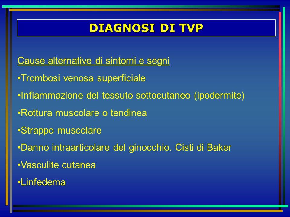 DIAGNOSI DI TVP Cause alternative di sintomi e segni Trombosi venosa superficiale Infiammazione del tessuto sottocutaneo (ipodermite) Rottura muscolar