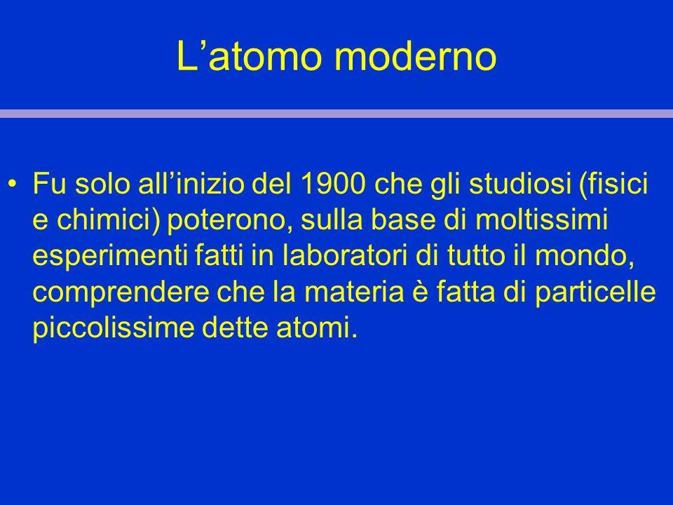 Latomo moderno Fu solo allinizio del 1900 che gli studiosi (fisici e chimici) poterono, sulla base di moltissimi esperimenti fatti in laboratori di tu
