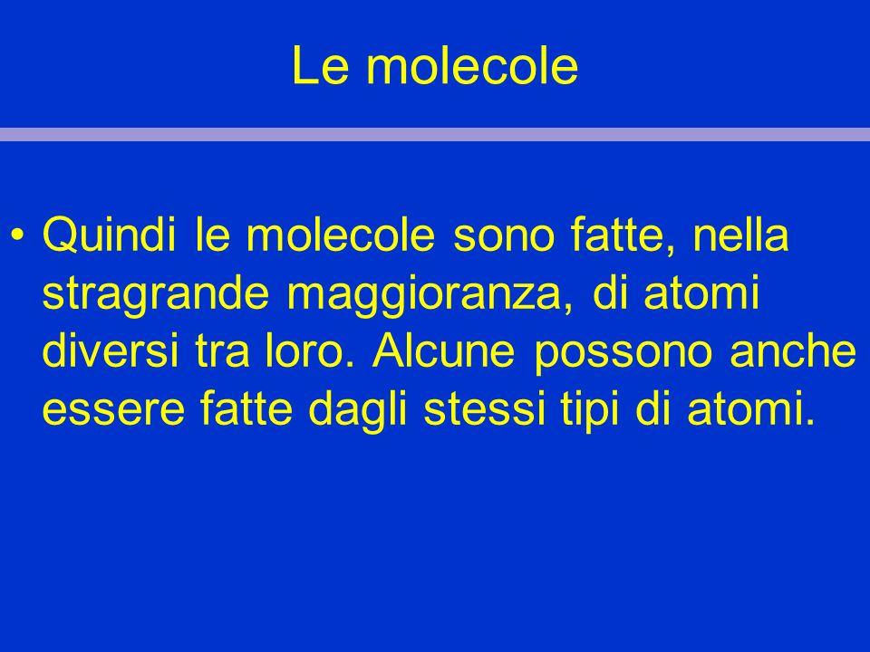 Le molecole Quindi le molecole sono fatte, nella stragrande maggioranza, di atomi diversi tra loro. Alcune possono anche essere fatte dagli stessi tip