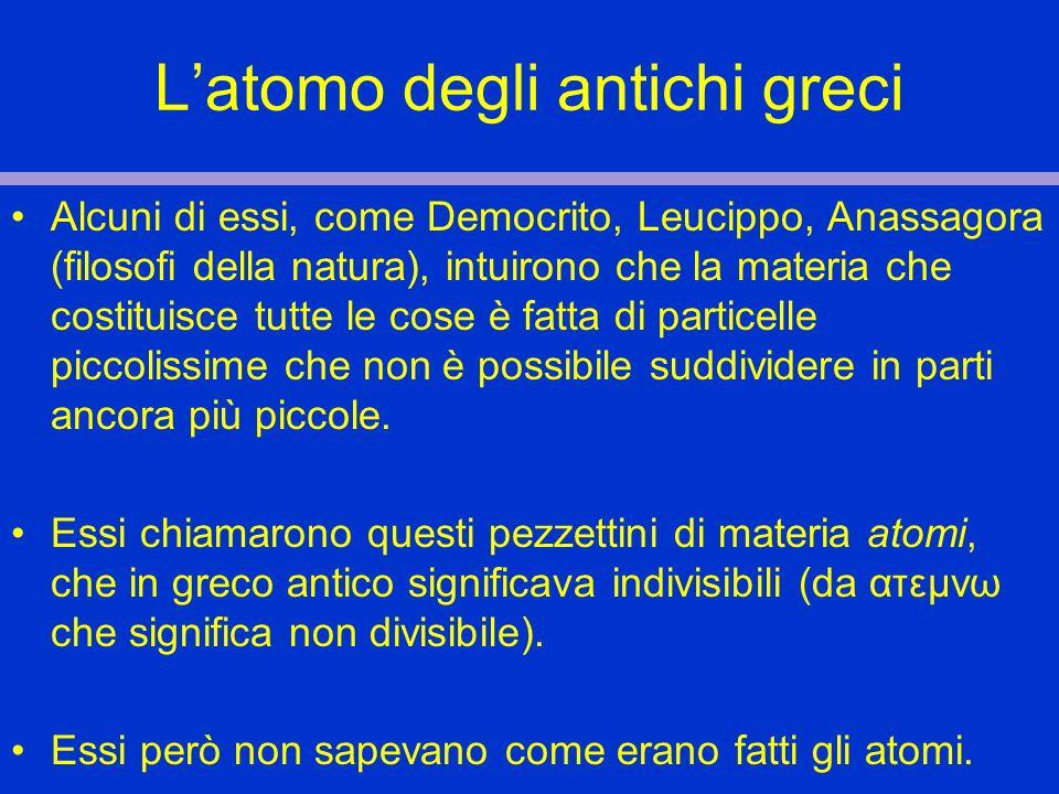 Latomo degli antichi greci Alcuni di essi, come Democrito, Leucippo, Anassagora (filosofi della natura), intuirono che la materia che costituisce tutt