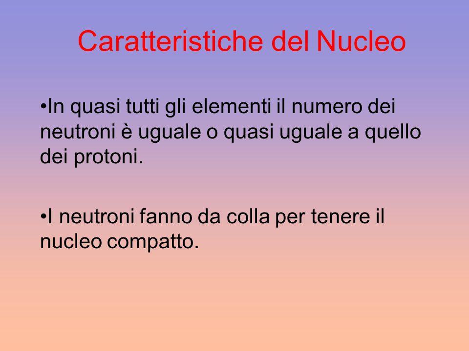 Caratteristiche del Nucleo In quasi tutti gli elementi il numero dei neutroni è uguale o quasi uguale a quello dei protoni. I neutroni fanno da colla