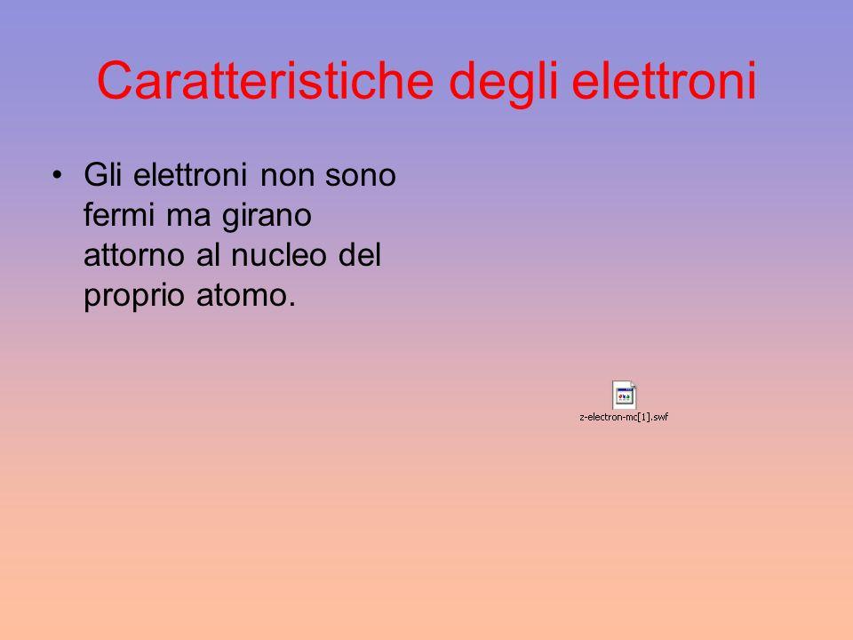 Caratteristiche degli elettroni Gli elettroni non sono fermi ma girano attorno al nucleo del proprio atomo.