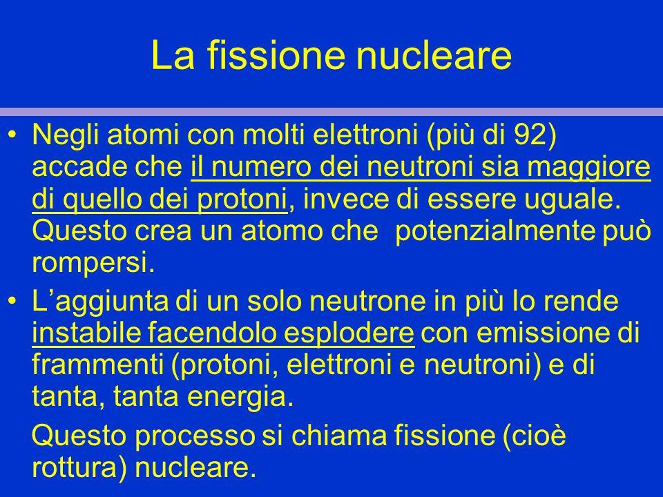 La fissione nucleare Negli atomi con molti elettroni (più di 92) accade che il numero dei neutroni sia maggiore di quello dei protoni, invece di esser