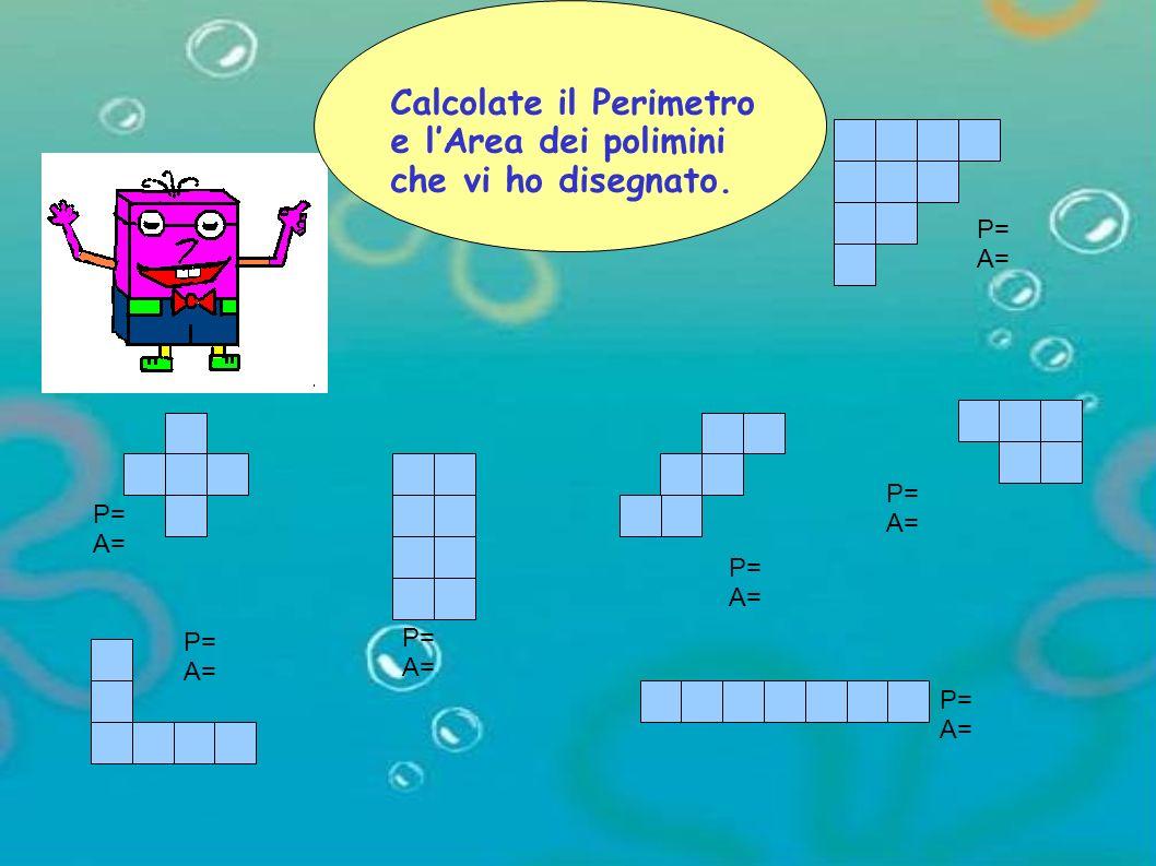 P= A= P= A= P= A= P= A= P= A= P= A= P= A= Calcolate il Perimetro e lArea dei polimini che vi ho disegnato.