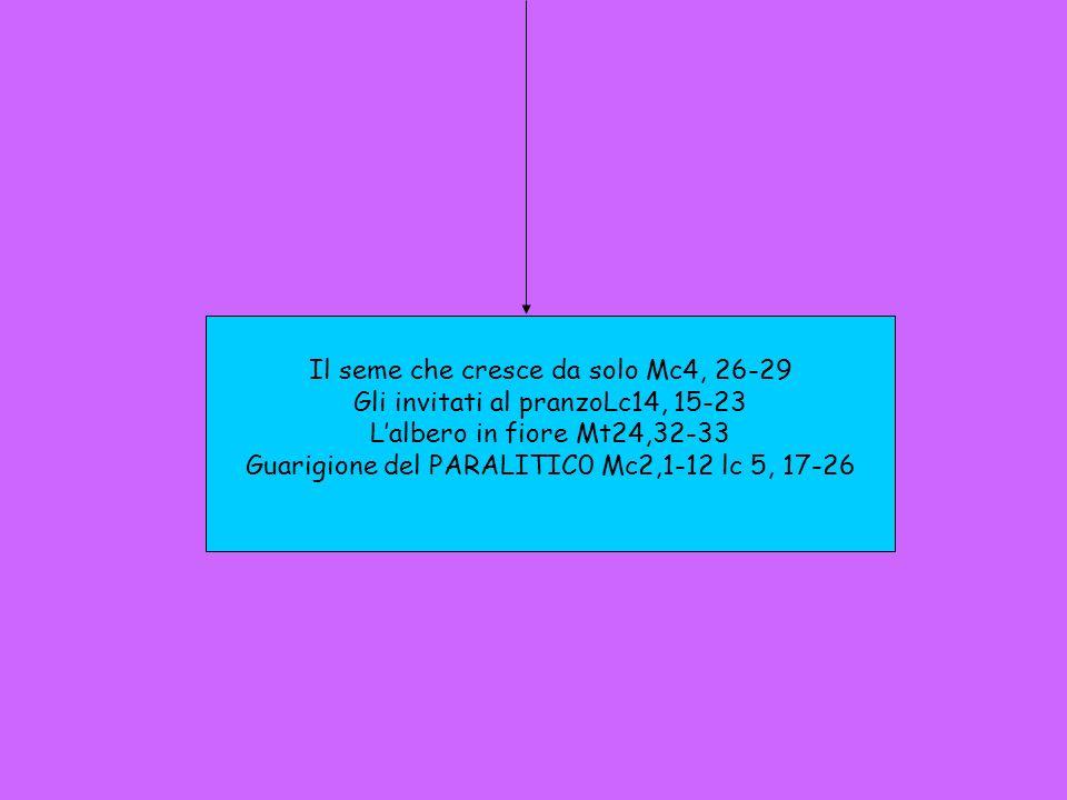 Il seme che cresce da solo Mc4, 26-29 Gli invitati al pranzoLc14, 15-23 Lalbero in fiore Mt24,32-33 Guarigione del PARALITIC0 Mc2,1-12 lc 5, 17-26
