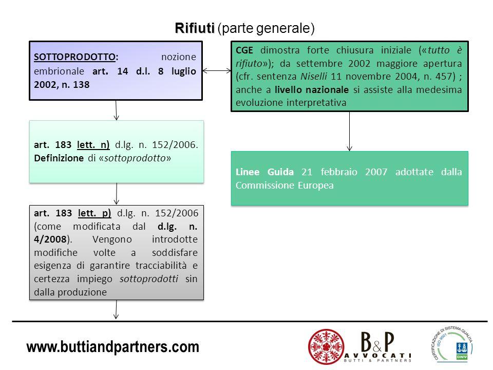 www.buttiandpartners.com Rifiuti Rifiuti (parte generale) SOTTOPRODOTTO: nozione embrionale art. 14 d.l. 8 luglio 2002, n. 138 art. 183 lett. n) d.lg.