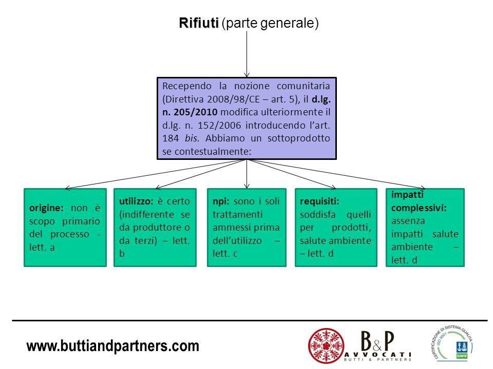 www.buttiandpartners.com Rifiuti Rifiuti (parte generale) Recependo la nozione comunitaria (Direttiva 2008/98/CE – art. 5), il d.lg. n. 205/2010 modif