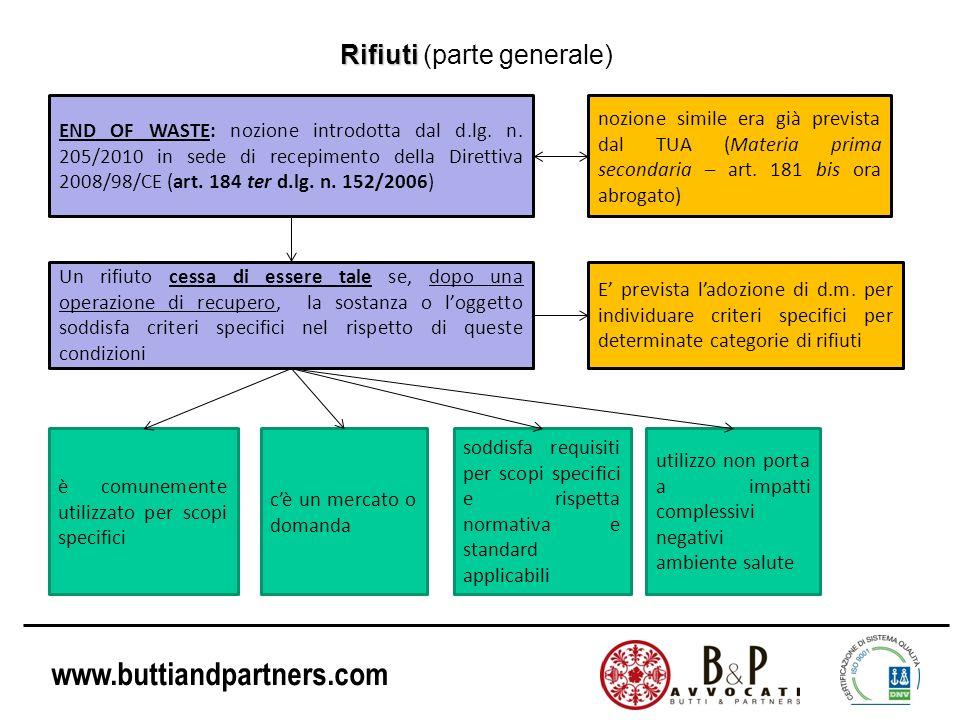 www.buttiandpartners.com Rifiuti Rifiuti (parte generale) END OF WASTE: nozione introdotta dal d.lg. n. 205/2010 in sede di recepimento della Direttiv