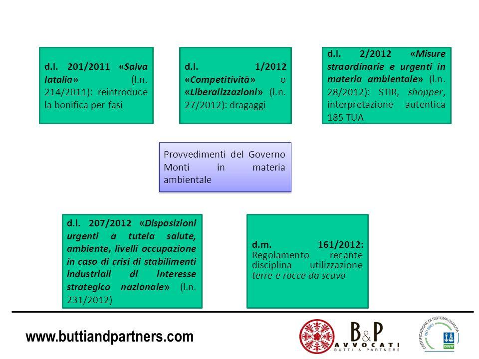 Provvedimenti del Governo Monti in materia ambientale d.l. 201/2011 «Salva Iatalia» (l.n. 214/2011): reintroduce la bonifica per fasi d.l. 1/2012 «Com