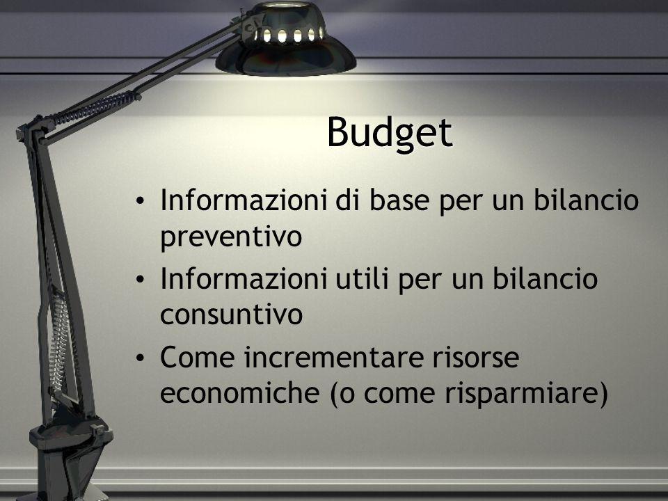 Budget Informazioni di base per un bilancio preventivo Informazioni utili per un bilancio consuntivo Come incrementare risorse economiche (o come risp