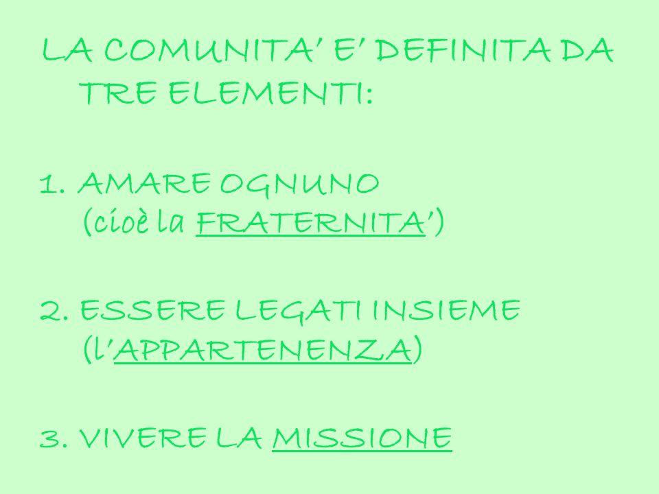 LA COMUNITA E DEFINITA DA TRE ELEMENTI: 1.AMARE OGNUNO (cioè la FRATERNITA) 2.ESSERE LEGATI INSIEME (lAPPARTENENZA) 3.VIVERE LA MISSIONE