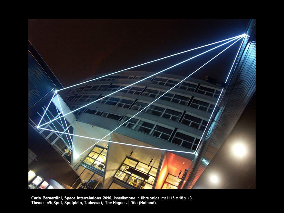 Carlo Bernardini, Space Interrelations 2010, Installazione in fibra ottica, mt H 15 x 18 x 13.