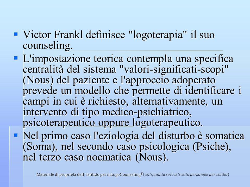 Materiale di proprietà dell Istituto per il LogoCounseling ® (utilizzabile solo a livello personale per studio) Victor Frankl definisce