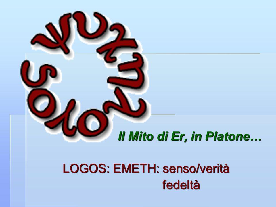 Il Mito di Er, in Platone… LOGOS: EMETH: senso/verità fedeltà fedeltà