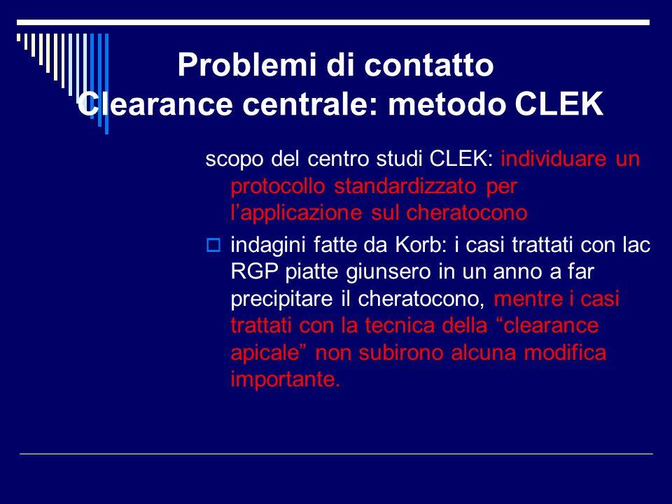 Problemi di contatto Clearance centrale: metodo CLEK scopo del centro studi CLEK: individuare un protocollo standardizzato per lapplicazione sul chera