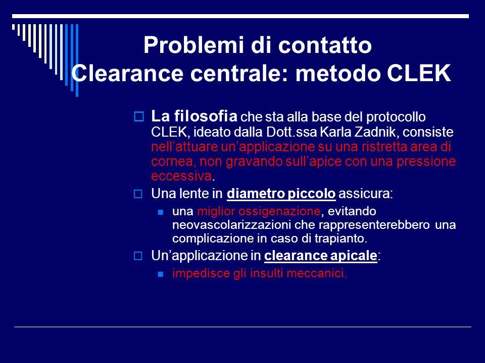 Problemi di contatto Clearance centrale: metodo CLEK La filosofia che sta alla base del protocollo CLEK, ideato dalla Dott.ssa Karla Zadnik, consiste