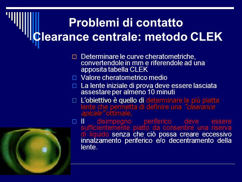 Problemi di contatto Clearance centrale: metodo CLEK Determinare le curve cheratometriche, convertendole in mm e riferendole ad una apposita tabella C
