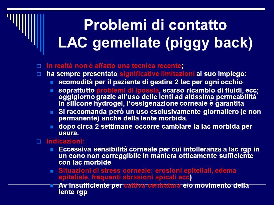 Problemi di contatto LAC gemellate (piggy back) In realtà non è affatto una tecnica recente; ha sempre presentato significative limitazioni al suo imp