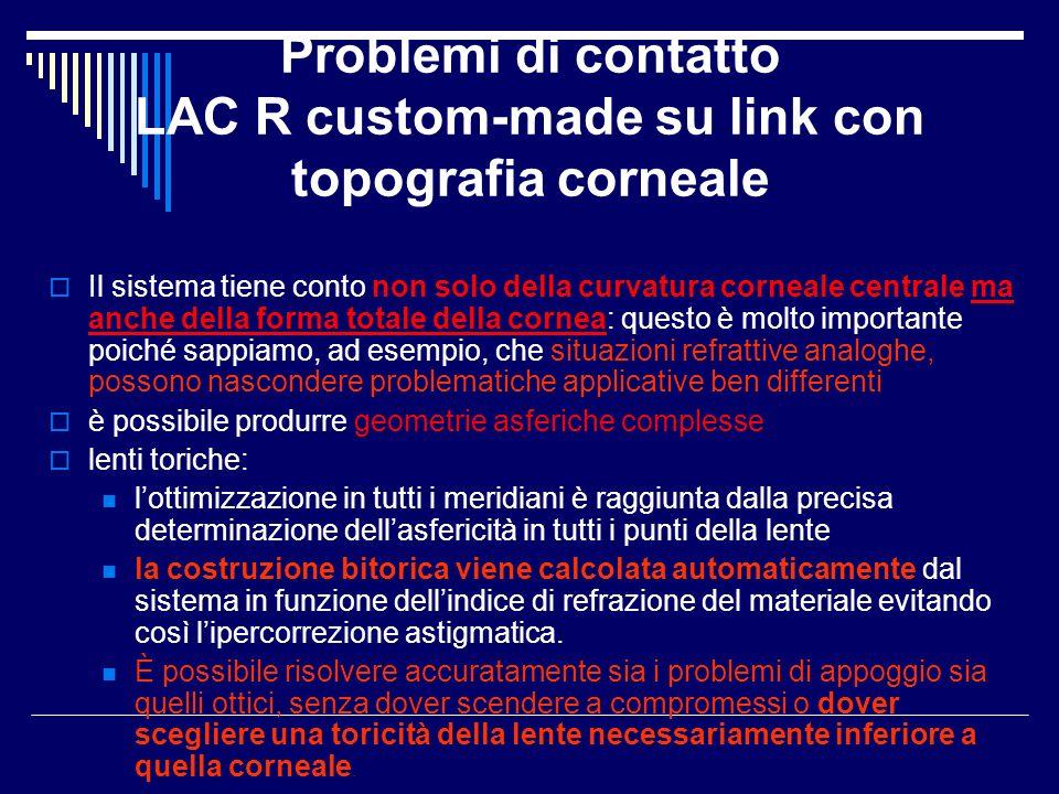 Problemi di contatto LAC R custom-made su link con topografia corneale Il sistema tiene conto non solo della curvatura corneale centrale ma anche dell