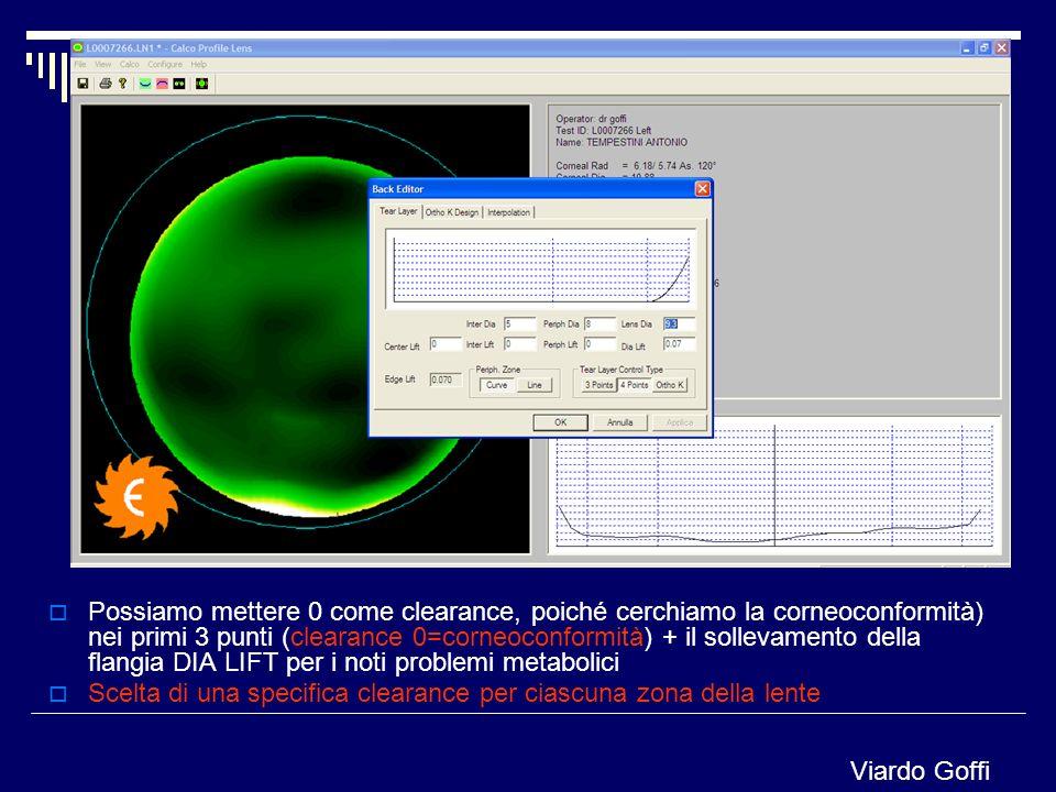 Possiamo mettere 0 come clearance, poiché cerchiamo la corneoconformità) nei primi 3 punti (clearance 0=corneoconformità) + il sollevamento della flan
