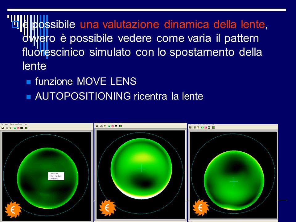 è possibile una valutazione dinamica della lente, ovvero è possibile vedere come varia il pattern fluorescinico simulato con lo spostamento della lent