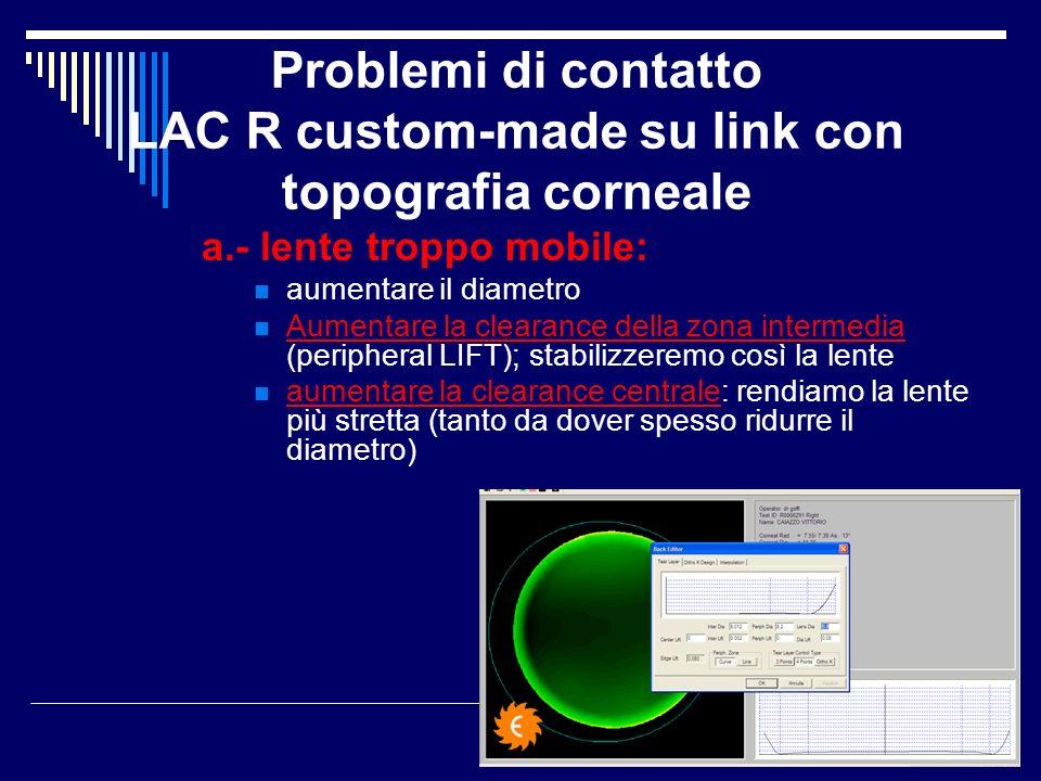 Problemi di contatto LAC R custom-made su link con topografia corneale a.- lente troppo mobile: aumentare il diametro Aumentare la clearance della zon