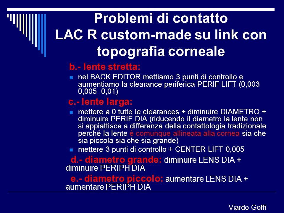 Problemi di contatto LAC R custom-made su link con topografia corneale b.- lente stretta: nel BACK EDITOR mettiamo 3 punti di controllo e aumentiamo l