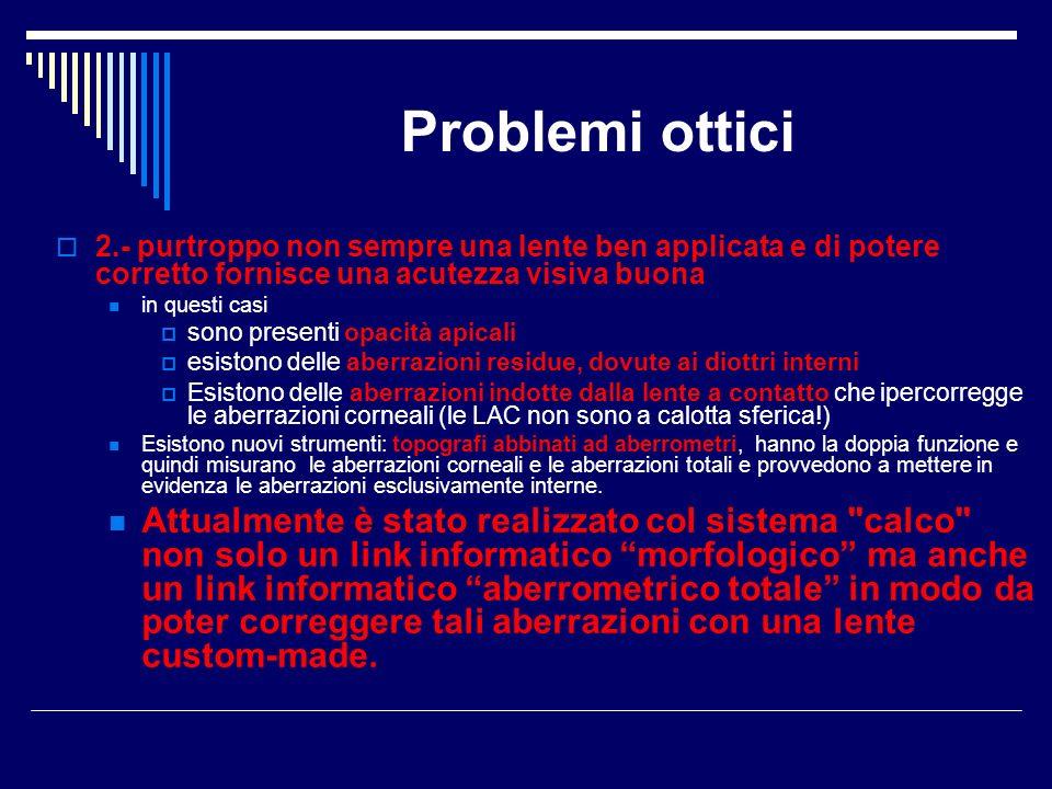 Problemi ottici 2.- purtroppo non sempre una lente ben applicata e di potere corretto fornisce una acutezza visiva buona in questi casi sono presenti