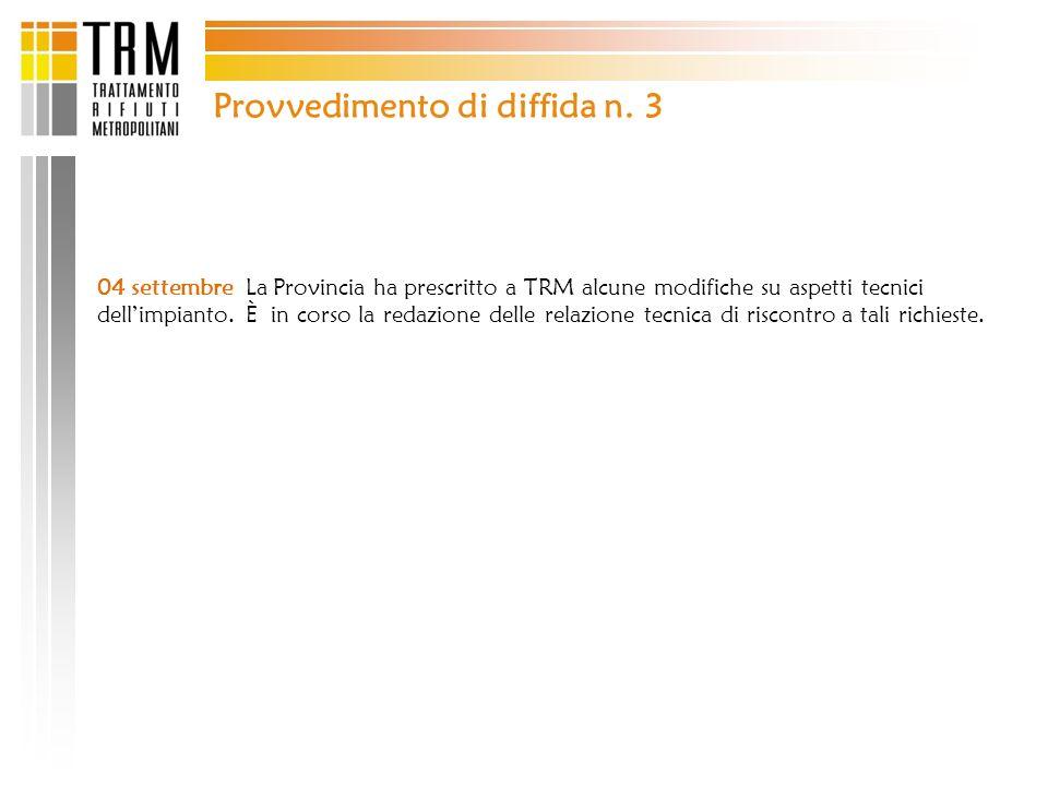 Provvedimento di diffida n. 3 04 settembre La Provincia ha prescritto a TRM alcune modifiche su aspetti tecnici dellimpianto. È in corso la redazione
