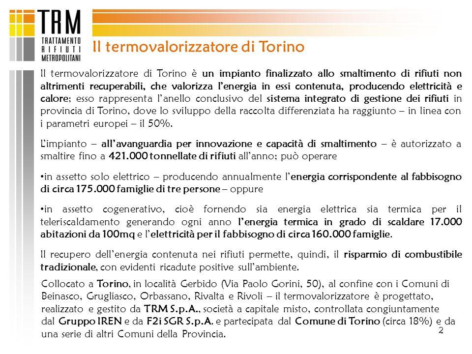 2 Il termovalorizzatore di Torino Il termovalorizzatore di Torino è un impianto finalizzato allo smaltimento di rifiuti non altrimenti recuperabili, c