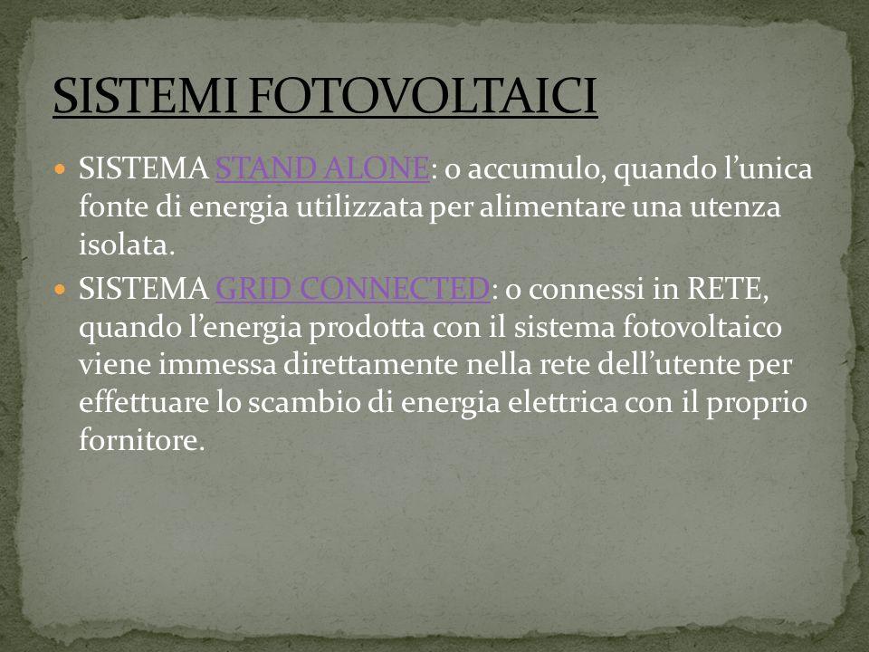 SISTEMA STAND ALONE: o accumulo, quando lunica fonte di energia utilizzata per alimentare una utenza isolata.STAND ALONE SISTEMA GRID CONNECTED: o connessi in RETE, quando lenergia prodotta con il sistema fotovoltaico viene immessa direttamente nella rete dellutente per effettuare lo scambio di energia elettrica con il proprio fornitore.GRID CONNECTED