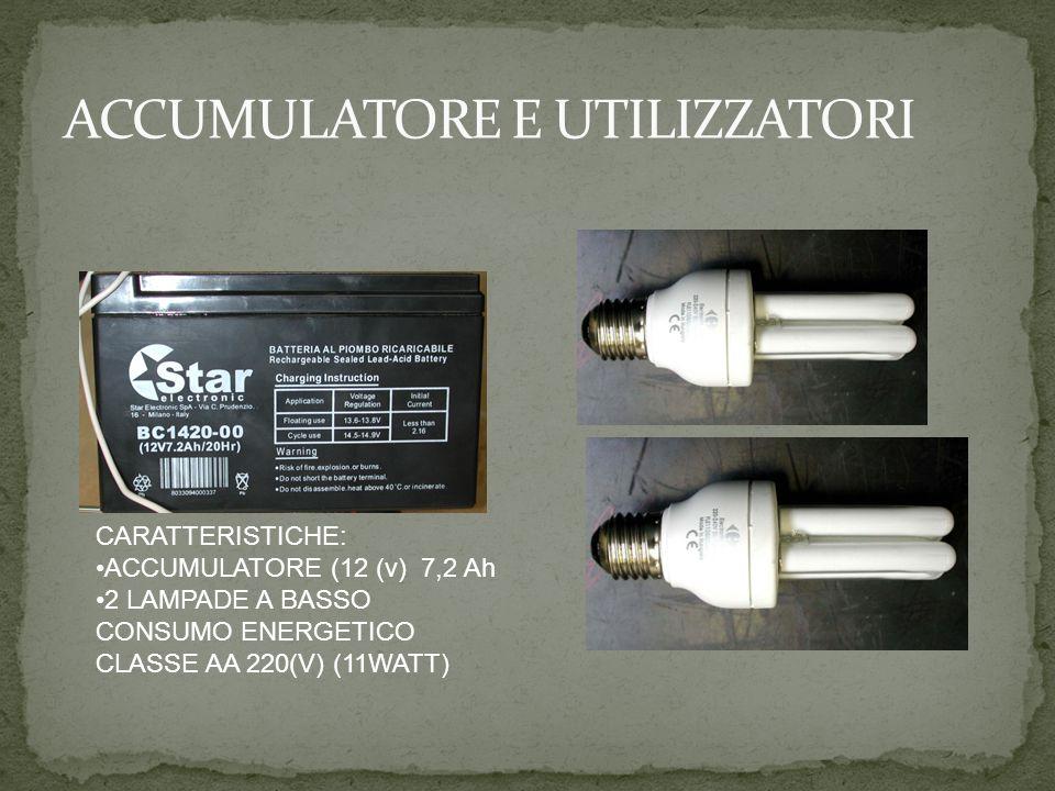 CARATTERISTICHE: ACCUMULATORE (12 (v) 7,2 Ah 2 LAMPADE A BASSO CONSUMO ENERGETICO CLASSE AA 220(V) (11WATT)