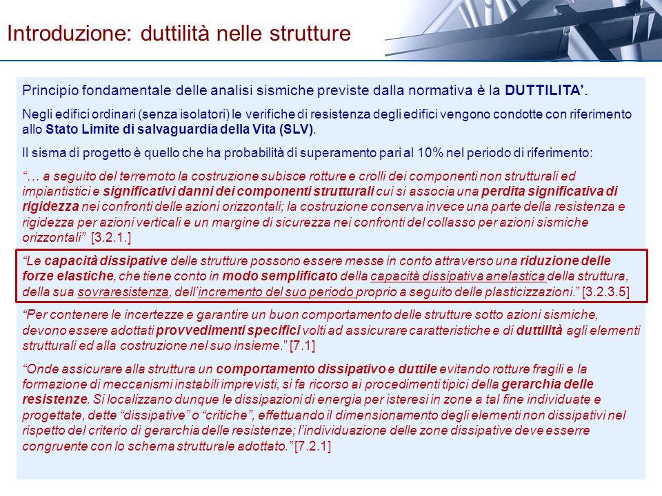 Introduzione: duttilità nelle strutture Principio fondamentale delle analisi sismiche previste dalla normativa è la DUTTILITA. Negli edifici ordinari