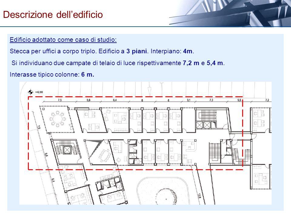 Descrizione delledificio Edificio adottato come caso di studio: Stecca per uffici a corpo triplo. Edificio a 3 piani. Interpiano: 4m. Si individuano d