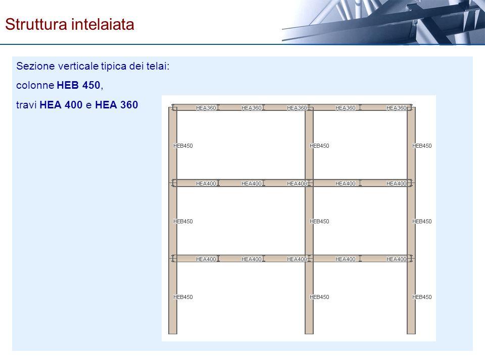 Sezione verticale tipica dei telai: colonne HEB 450, travi HEA 400 e HEA 360 Struttura intelaiata