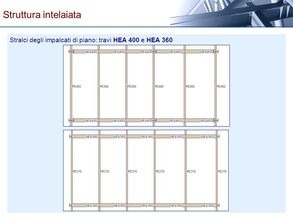 Stralci degli impalcati di piano: travi HEA 400 e HEA 360 Struttura intelaiata