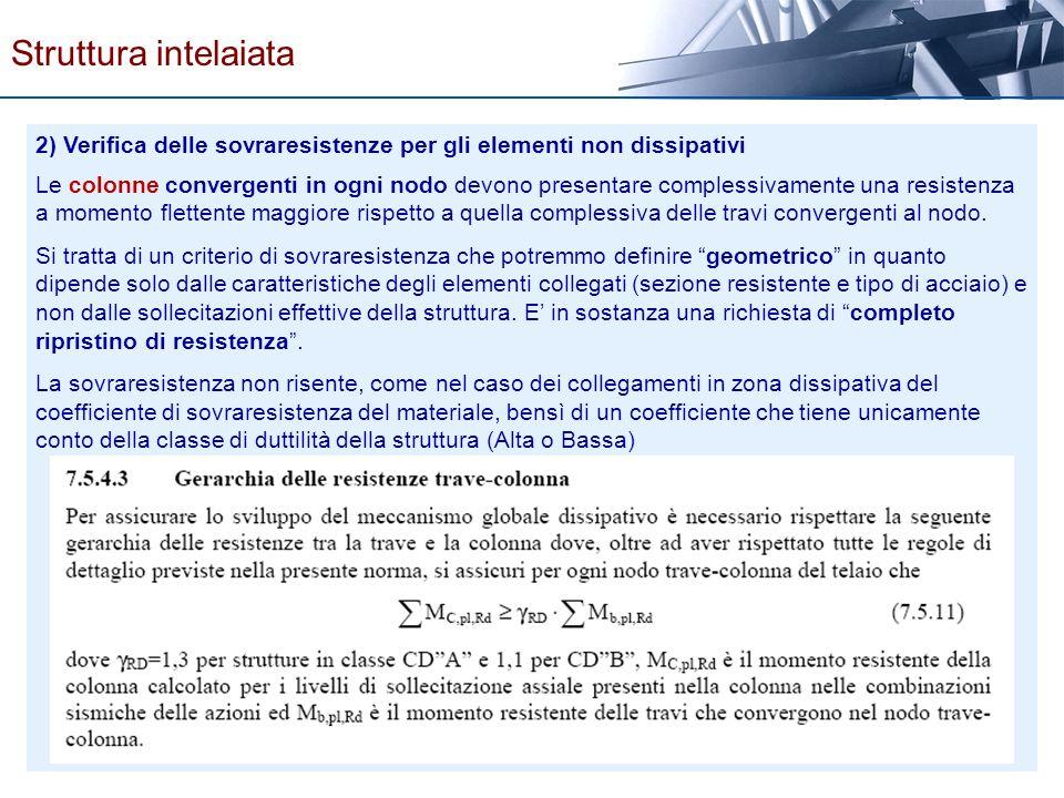 2) Verifica delle sovraresistenze per gli elementi non dissipativi Le colonne convergenti in ogni nodo devono presentare complessivamente una resisten