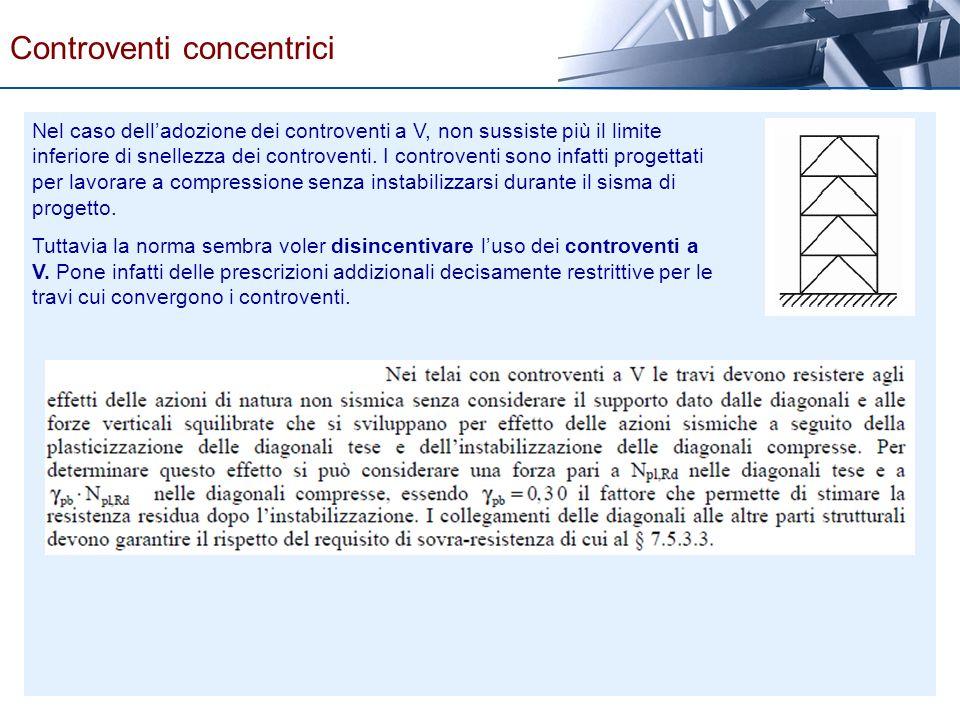 Nel caso delladozione dei controventi a V, non sussiste più il limite inferiore di snellezza dei controventi. I controventi sono infatti progettati pe